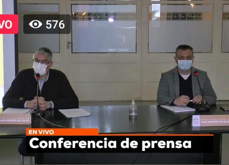 Conferencia del intendente Puglelli y del secretario de Salud, Fernando Romero.