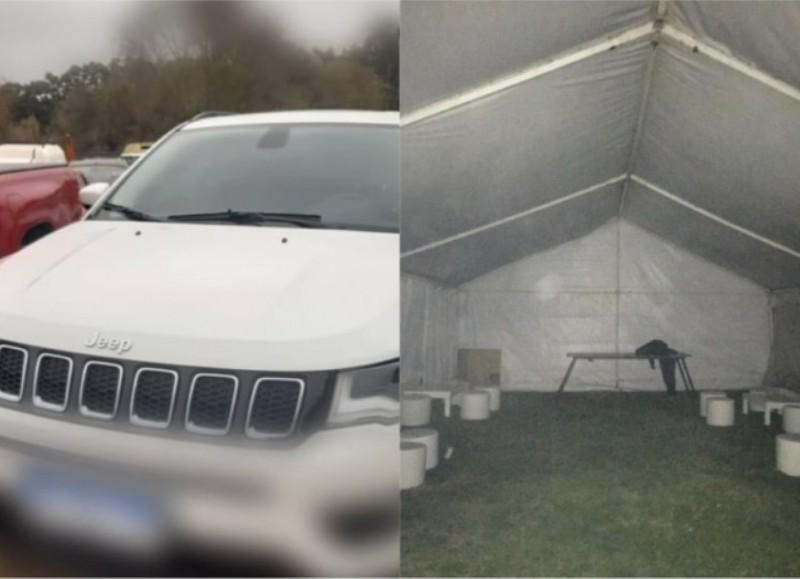 Uno de los autos secuestrados y uno de los gacebos donde se desarrollaba esta fiesta clandestina.
